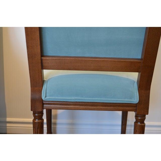 Turquoise Custom Order Louis XVI Style Square Back Dining Chair Upholstered in Kravet's Crypton Washable Velvet For Sale - Image 8 of 11