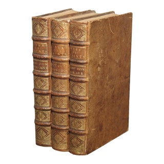 Set of 18th Century French Leather Bound Books, Les Vies Des Saints, 1715 For Sale