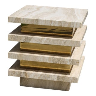 1970s Modernist Italian Stacked Travertine and Brass Drinks Table / Side Table For Sale