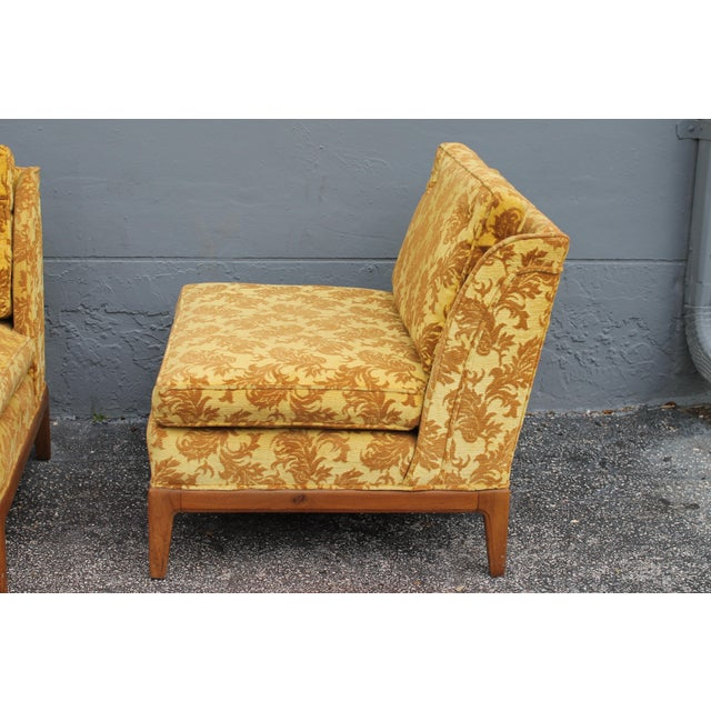Yellow 1950s Vintage Velvet Winged Sided Lounge Chairs - a Pair For Sale - Image 8 of 11