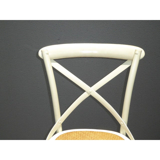 Wicker Vintage French Country White Rye Seat Bar Stools - A Pair For Sale - Image 7 of 11