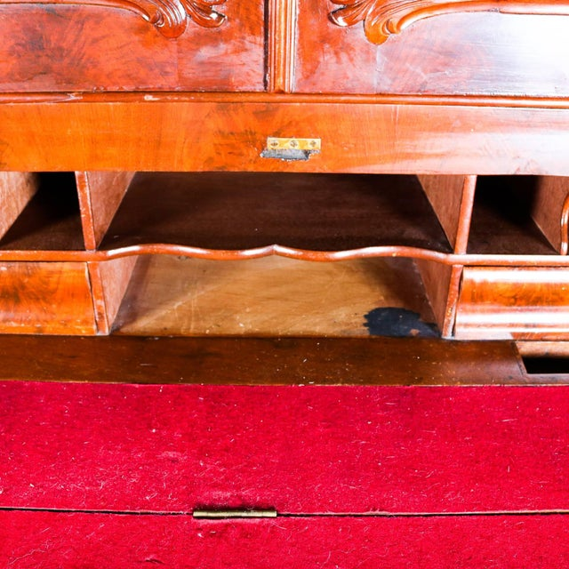 Glass Antique American Empire Flame Mahogany Carved Slant Front Secretary 19th Century For Sale - Image 7 of 10