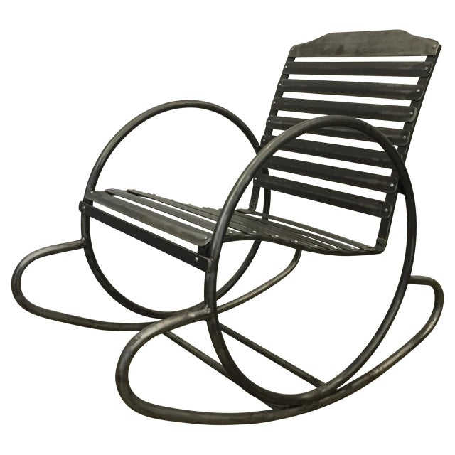 Gray Wrought Iron Porch Rocking Chair For Sale - Image 8 of 8