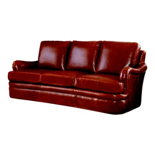 Century Furniture Whitby Leather Sofa, Honey Leather For Sale