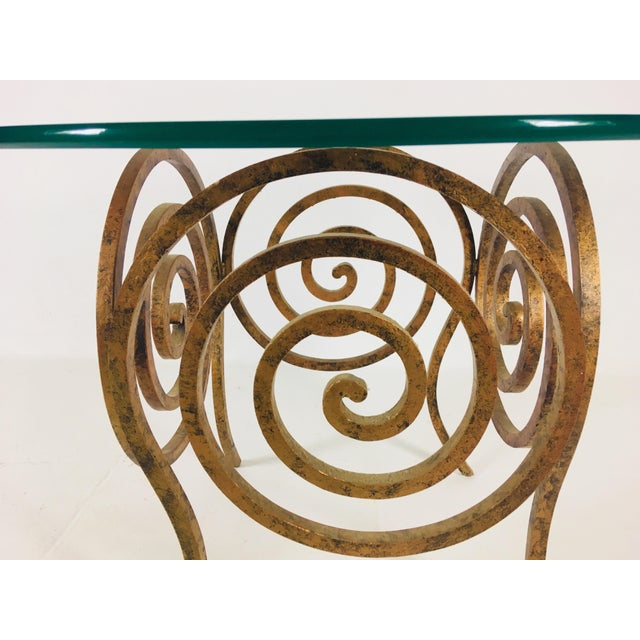 Scroll Wrought Iron & Glass Coffee Table For Sale In Philadelphia - Image 6 of 8