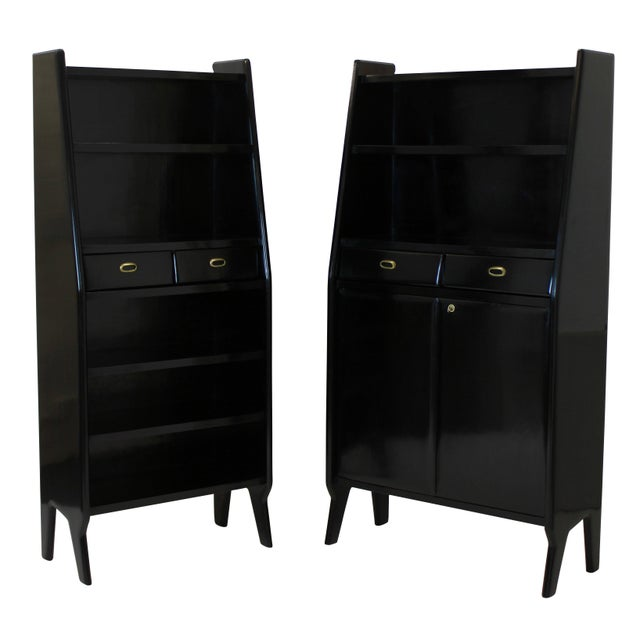 A Pair of Large Ebonised Architectural Bookcases For Sale - Image 4 of 4