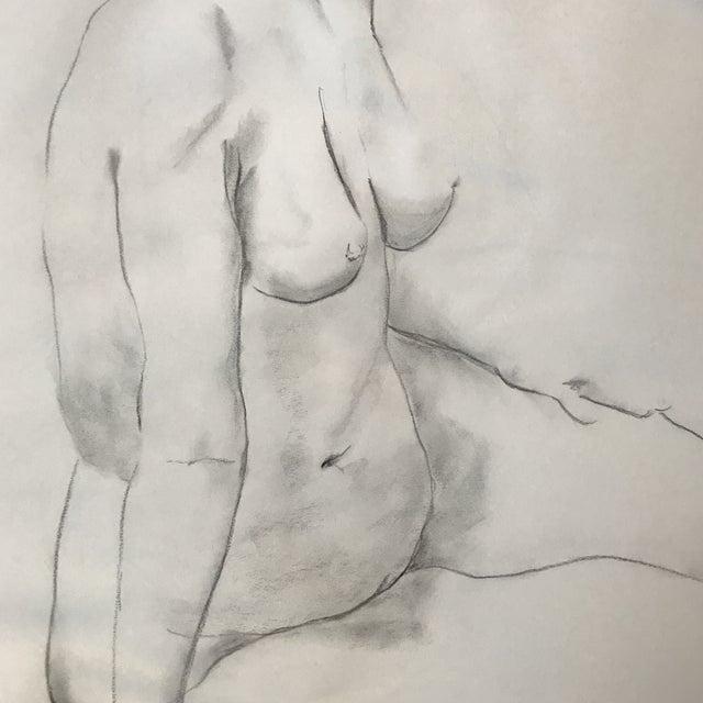 Figurative Seated Nude Drawing For Sale - Image 3 of 3