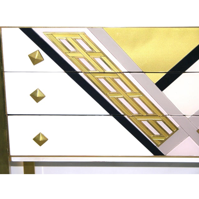 Hollywood Regency 1990s Italian White Black and Gold Chest Sideboard on Brass Legs For Sale - Image 3 of 10