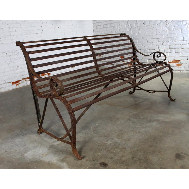 Brown Antique 19th Century Forged Strap Iron Garden Bench For Sale - Image 8 of 10