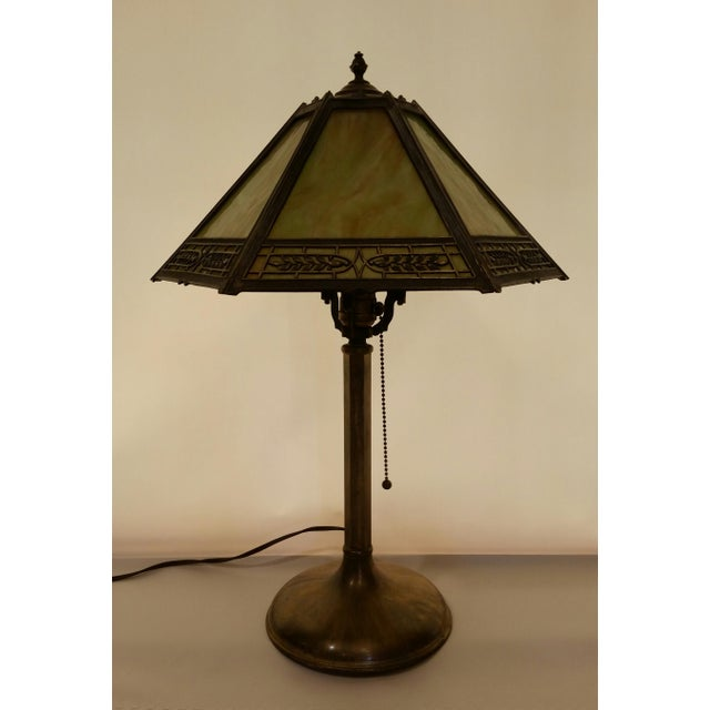 Vintage Pilabrasgo 1920's Slag Glass Table Lamp For Sale - Image 5 of 8
