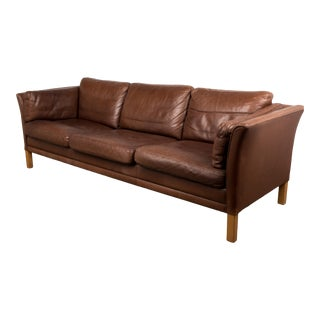 Danish Mid-Century Sofa in Brown Leather For Sale