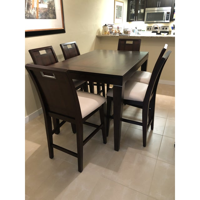 Contemporary Espresso Finished Counter-Height Dining Set From Ethan Allen - Extension Table With 6 Upholstered Chairs - 8 Pieces For Sale - Image 12 of 12