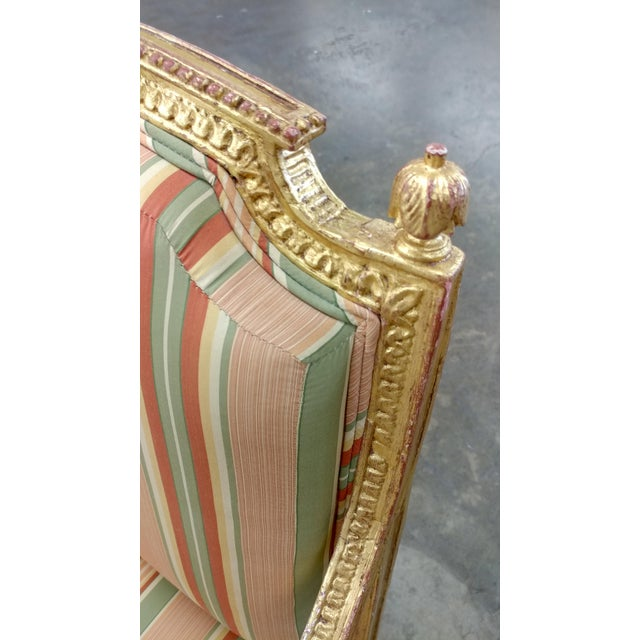 19th Century French Louis XVI Gilt Wood Fauteuils Chairs-A pair For Sale - Image 5 of 9