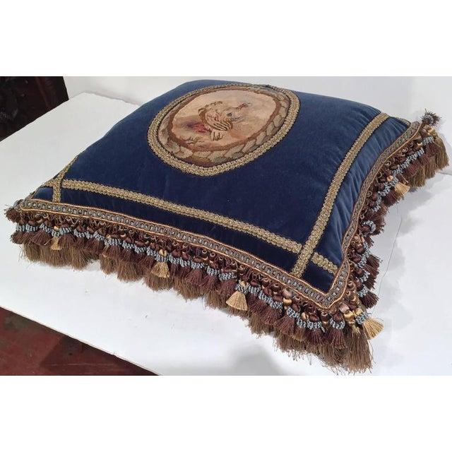 French Custom Blue Velvet Pillow Handmade With 18th Century Aubusson Tapestry, Trims and Tassels For Sale - Image 4 of 10