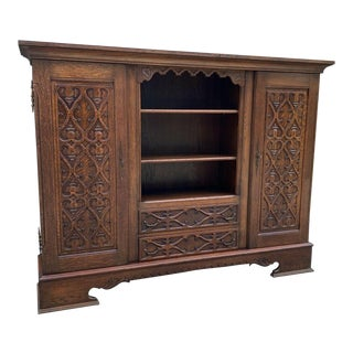 Antique English Oak Bookcase Display Storage Cabinet For Sale
