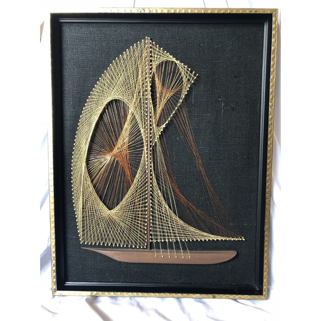 Mid-Century Modern Mid-Century Sailboat Wire String Art For Sale - Image 3 of 12