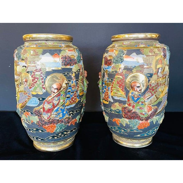 Japanese Pair of Antique Japanese Satsuma Vases Figural Scenes For Sale - Image 3 of 13