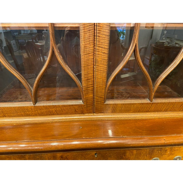 Vintage Mahogany Breakfront With Butlers Desk For Sale - Image 9 of 12