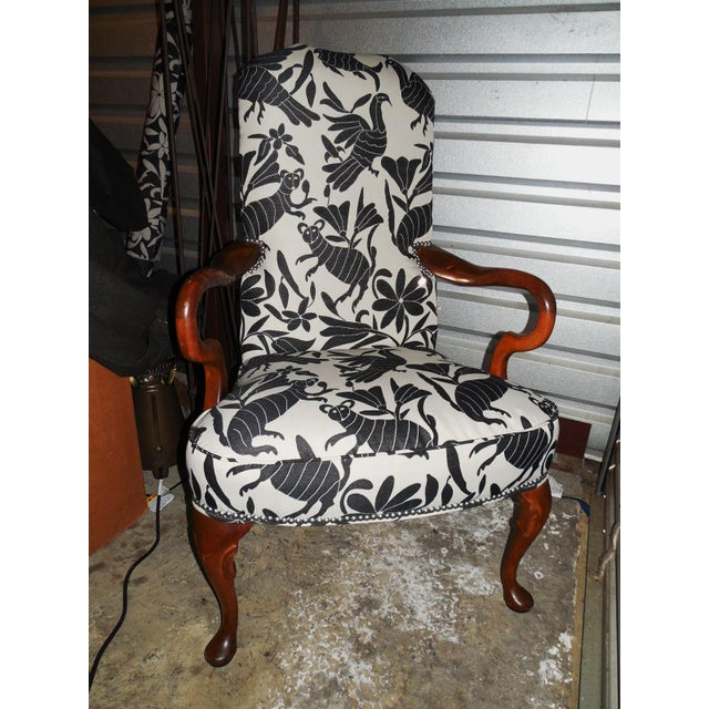 Hickory 1970's Queen Anne Otomi Armchair - Image 3 of 10