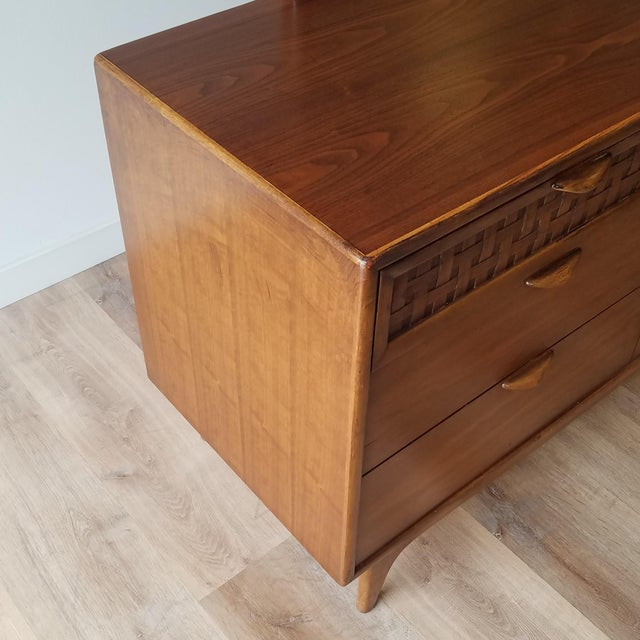Brown 1960s Lane Perception Four Drawer Dresser With Mirror For Sale - Image 8 of 13