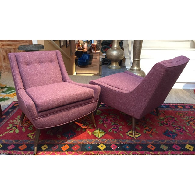 Pair of early mid-century modernist lounge chairs, completely redone and upholstered in gorgeous wool tweed fabric....