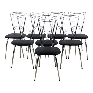 Mid-Century Modern Chrome and Leather High Back Dining Chairs - Set of 8 For Sale