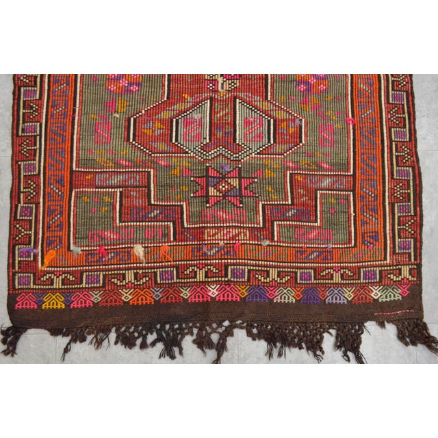 Turkish Rug Hand Woven Tribal Kilim Rug - 3′10″ X 4′11″ For Sale - Image 5 of 8