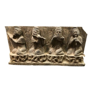19th Century Chinese Carved Stone Figural Panel For Sale