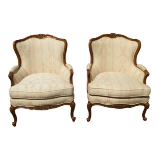 Vintage Bernhardt French Provincial White Bergere Accent Chairs - a Pair For Sale