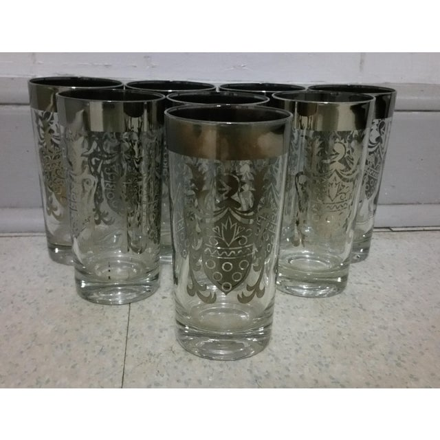 Glass Queen's Lusterware Silver Highball Glasses - Set of 8 For Sale - Image 7 of 7