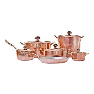 Amoretti Brothers Handmade Copper Cookware Set with Flower Lid - 11 Pieces For Sale