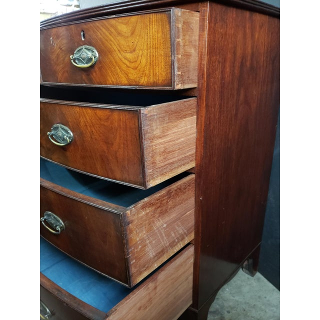 Brown Georgian English Mahogany 2 Over 3 Bow Front Chest on Bracket Feet For Sale - Image 8 of 13