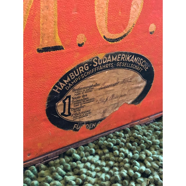 Rare Louis Vuitton Orange Trunk With Initials m.o.r, Circa 1930s For Sale - Image 10 of 13