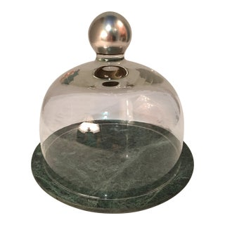1970's Silvered Glass Cheese Dome & Green Marble Base For Sale