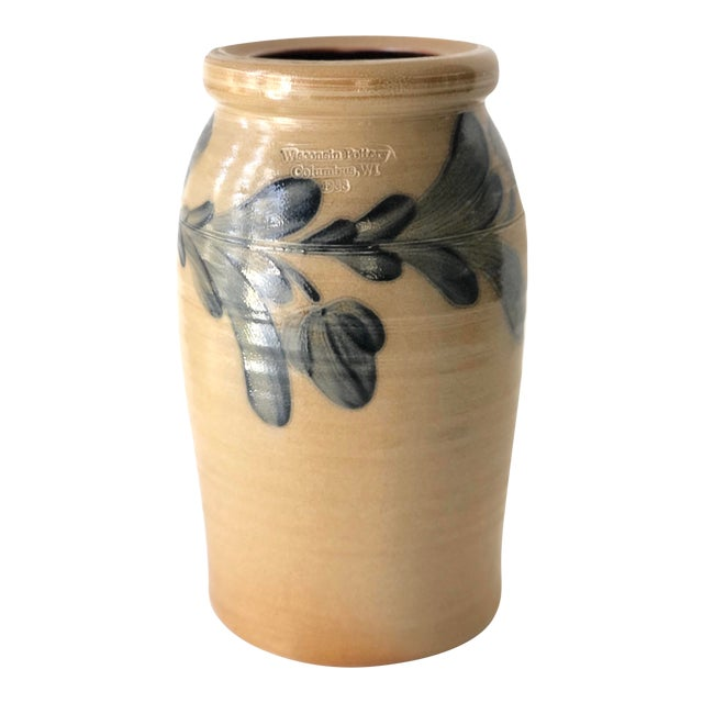 Farmhouse Salt Glazed Vase With Cobalt Blue Floral Motif - Vintage For Sale