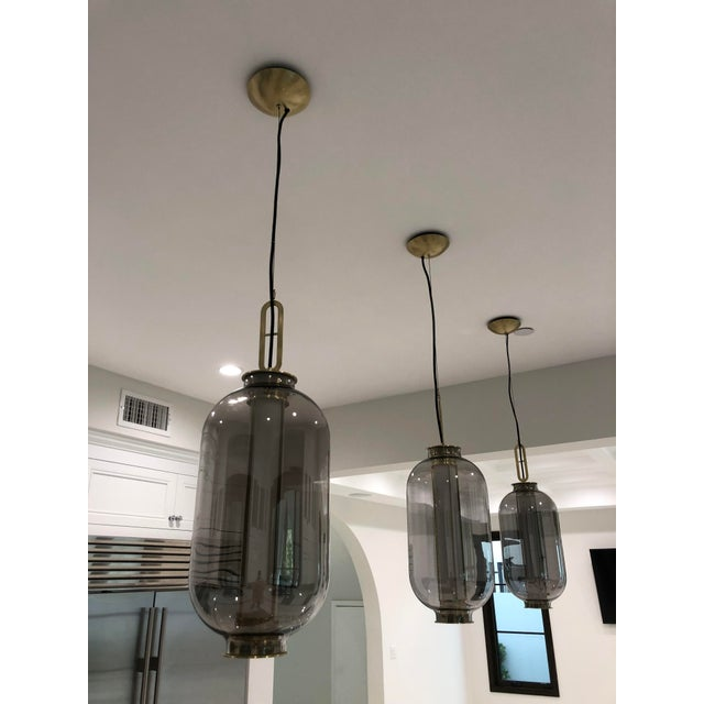 2010s Smoked Glass and Brass Pendant For Sale - Image 5 of 5