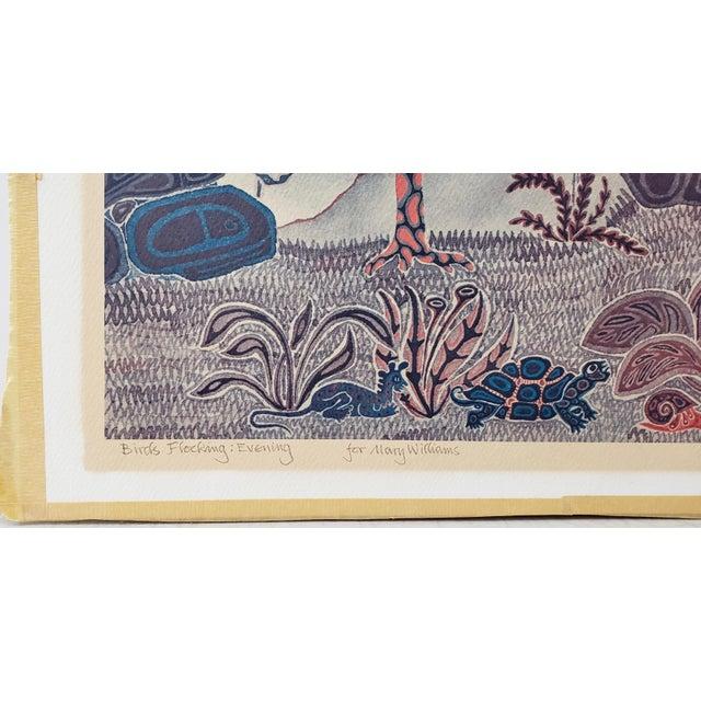 """Art Nouveau Jesse Allen (Kenya, B.1936) """"Birds Flocking"""" Original Signed Print For Sale - Image 3 of 9"""