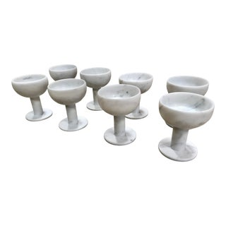 Italian Carrara Marble Chalices - Set of 8 For Sale