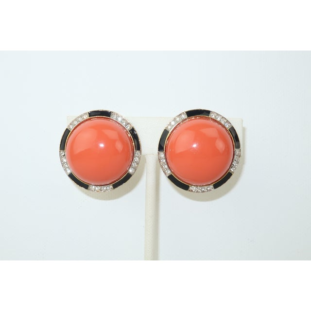 Kenneth Jay Lane Art Deco Faux Coral & Rhinestone Earrings For Sale - Image 9 of 9