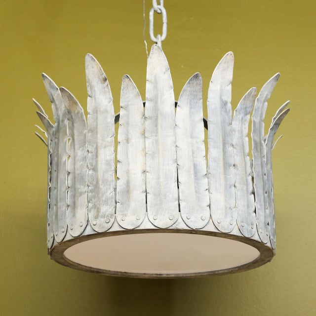 """Hand-Crafted Iron """"Fairfield"""" Crown Light in Silver For Sale - Image 9 of 9"""