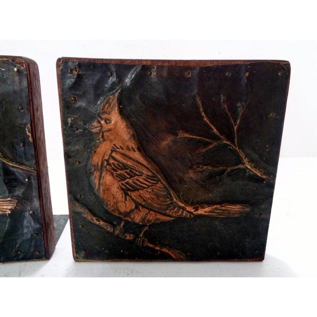 Rustic Antique Vintage Arts & Crafts Copper Cardinals Birds Folk Art Bookends For Sale - Image 3 of 12