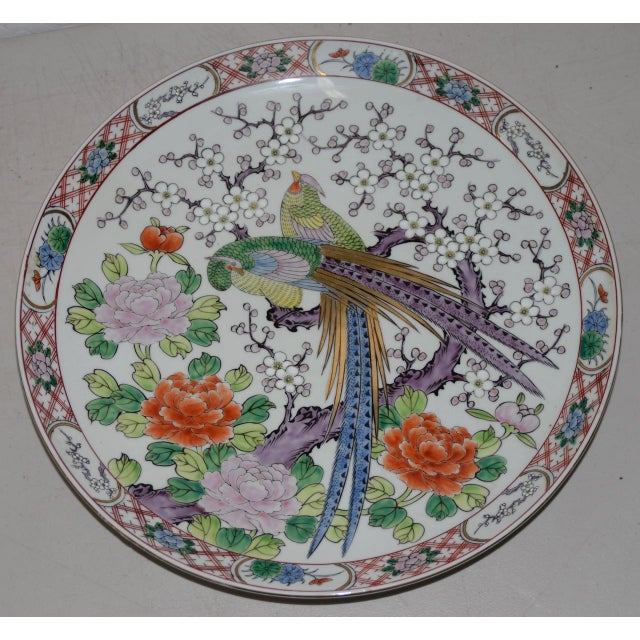 Gold Antique Chinese Porcelain Hand Painted Platter W/ Peacocks For Sale - Image 8 of 8