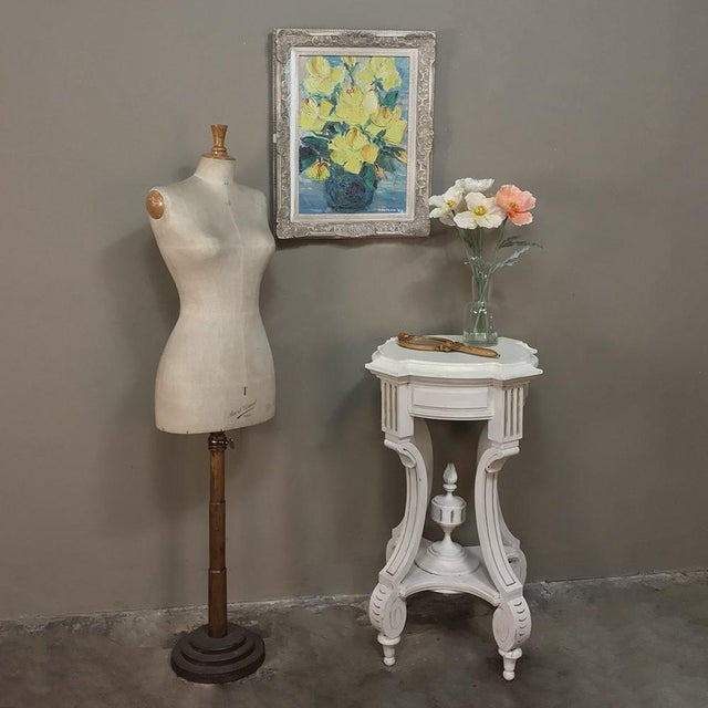 19th Century French Henri II Painted Lamp Table ~ Pedestal For Sale - Image 10 of 11