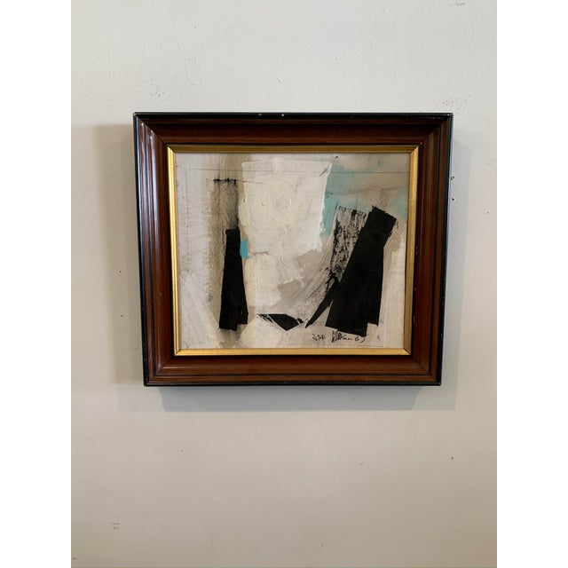 "Paper 1960s Framed Graham Harmon Oil Painting Entitled ""Stop"" For Sale - Image 7 of 7"