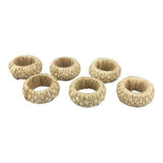 Boho Chic Woven Braided Straw Napkin Rings- a Set of 6 For Sale