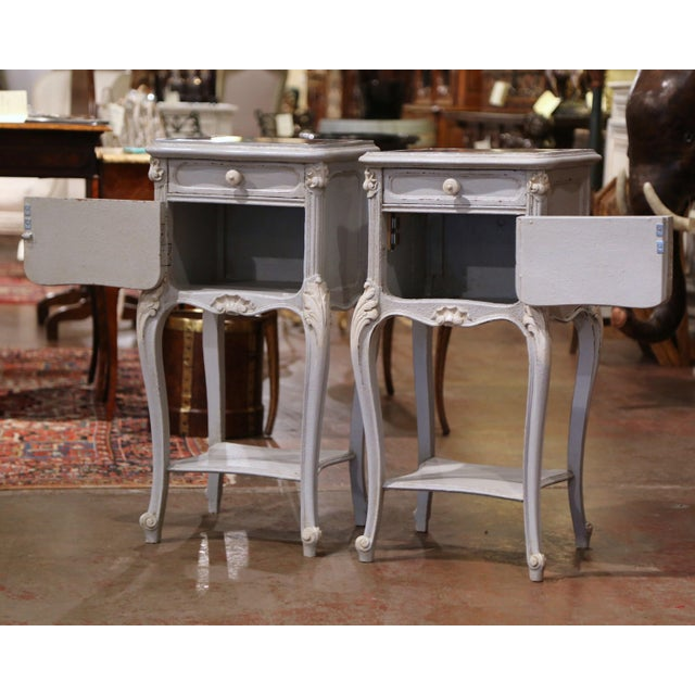 Stone Pair of 19th Century French Louis XV Carved Painted Nightstands With Marble Top For Sale - Image 7 of 12