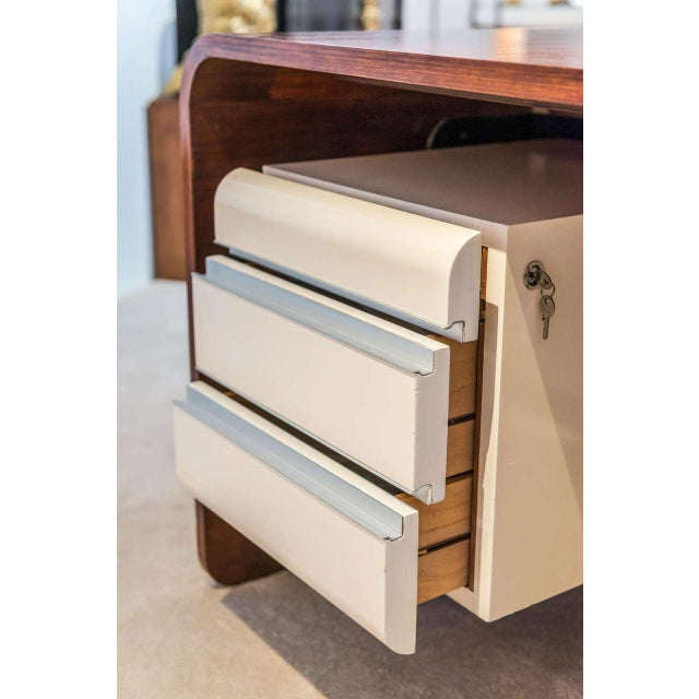 Michel Boyer Michel Boyer Walnut and Formica Waterfall Desk For Sale - Image 4 of 11
