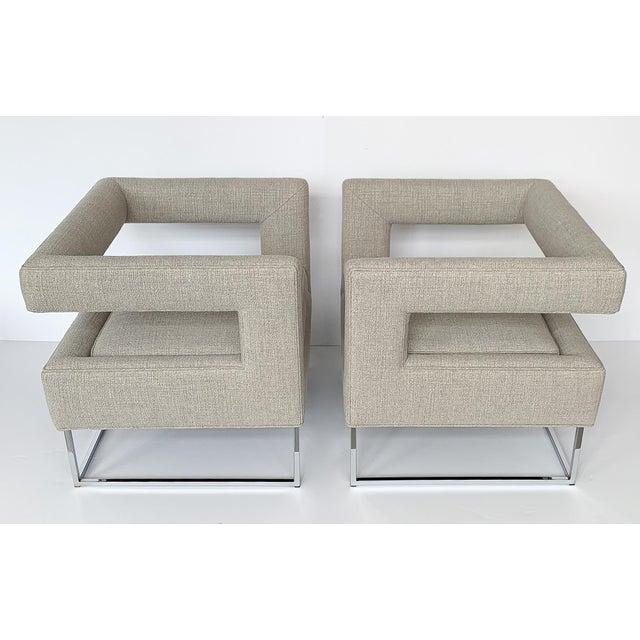 Milo Baughman Milo Baughman Open Back Lounge Chairs - a Pair For Sale - Image 4 of 13