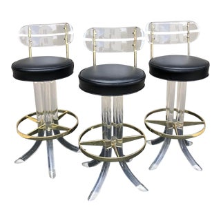 Vintage Mid Century Lucite Bar Stools- Set of 3 For Sale