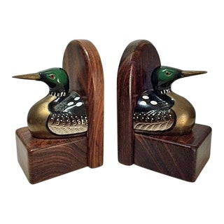 1970s Country Mallard Duck Wood & Brass Bookends - a Pair For Sale